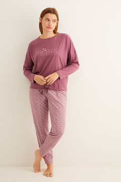 Womensecret Maroon long-sleeved cotton pyjamas pink