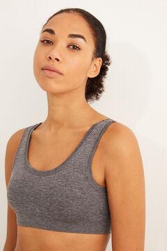 Womensecret Plain grey seam-free crop top grey