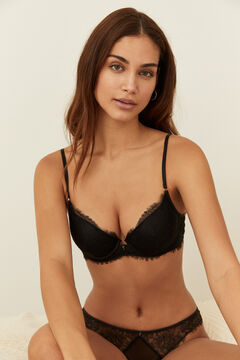 Womensecret Black lace padded push-up bra black