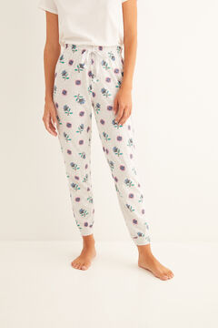Womensecret Long printed white pyjama bottoms grey
