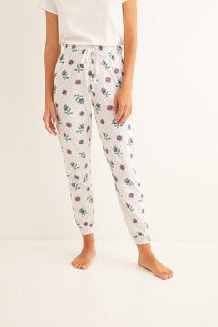 Womensecret Mintás, hosszú, fehér pizsamanadrág szürke