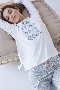 Womensecret Long ivory organic cotton pyjamas beige