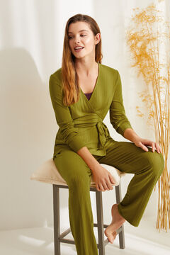 Womensecret Long ribbed super soft pyjamas in mustard green