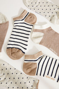 Womensecret Pack de 3 calcetines medios estampados marrón estampado