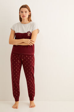 Womensecret Pijama manga curta Gryffindor 100% algodão grená cinzento