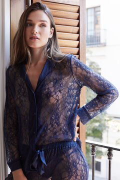 Womensecret Pijama comprido camiseiro renda azul