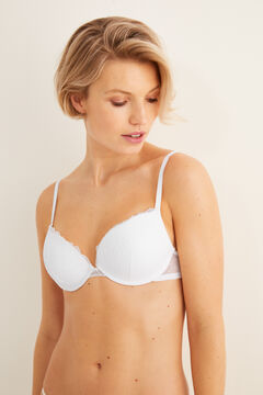 Womensecret SUPERB Sujetador push up mesh y encaje blanco