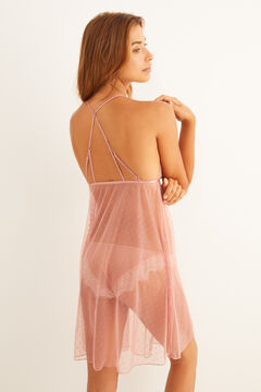 Womensecret Short pink plumetis and lace nightgown pink