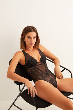 Womensecret Halter neck body in lace and floral tulle black