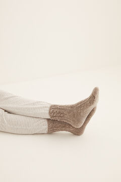 Womensecret Braided chenille ankle socks grey