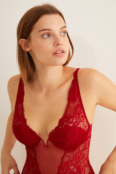 Womensecret Strappy lace and tulle halterneck body red