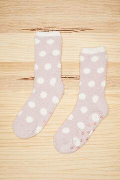 Womensecret Fluffy pink polka-dot socks pink