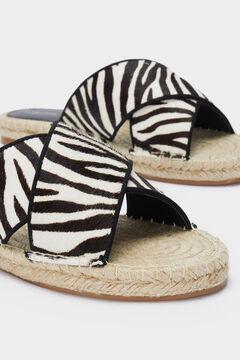 Womensecret Zebra print jute flat sandals black