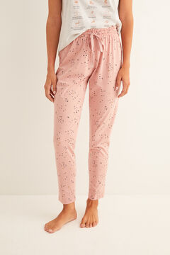 Womensecret Long pink printed pyjama bottoms pink