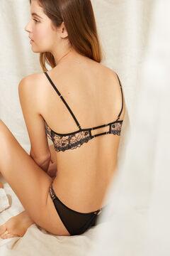 Womensecret PRETTY Classic black lace bra without padding black