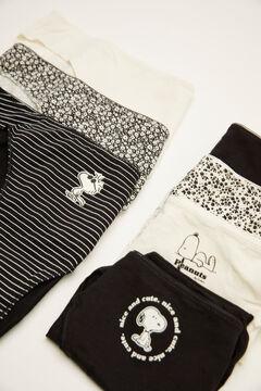 Womensecret Pack 7 braguitas clásicas algodón estampado Snoopy negro