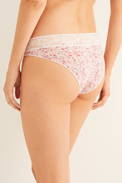 Womensecret Lace detail classic printed cotton panty white