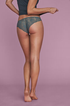 Womensecret Green cotton and lace classic panty green