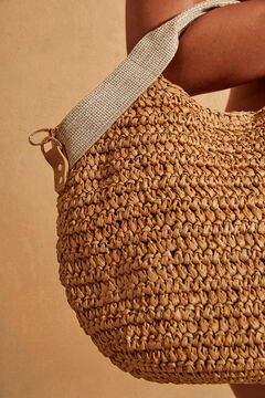 Womensecret Raffia bag with long and short straps nude