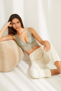 Womensecret Green lace halterneck bralette beige