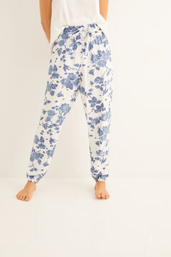Womensecret Long pyjama bottoms with sky blue print blue