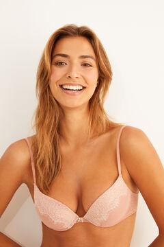 Womensecret Soutien-gorge push-up plumetis et dentelle nude