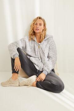 Womensecret Short grey spongy fleece robe grey