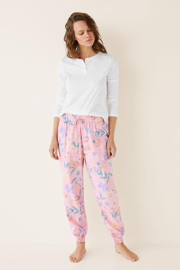 cda28f27c6 Womensecret Pantalón pijama largo flores ajustado beige