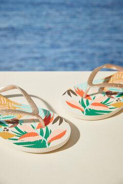 Womensecret Floral shells flip-flops white