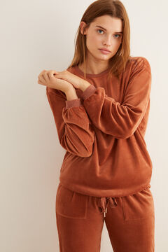 Womensecret Maroon long-sleeved velour sweatshirt nude