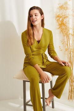 Womensecret Long ribbed super soft pyjamas in mustard green