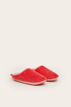 Womensecret Faux shearling slingback slippers red