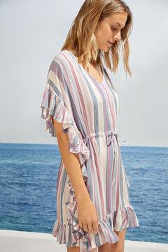 Womensecret Striped flounced tunic dress pink
