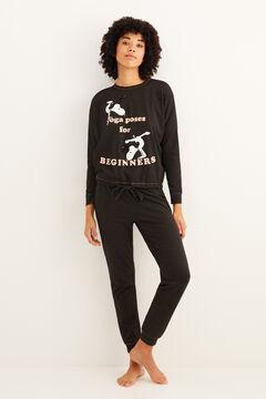 Womensecret Long Snoopy double-face pyjamas black
