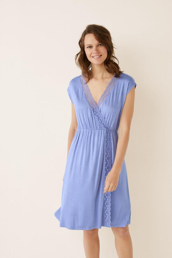382f370c0 Womensecret Camisón corto cruzado detalle encaje azul