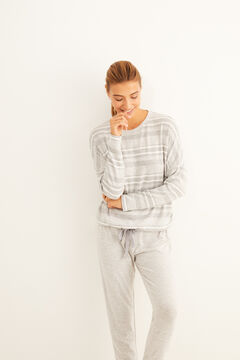 Womensecret Long grey striped pyjamas grey