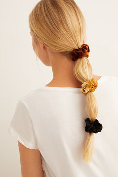 Womensecret Set of three mini velvet scrunchies white