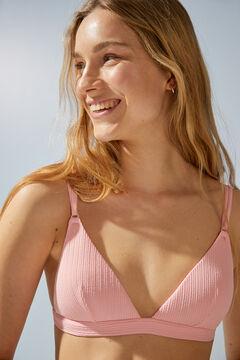 Womensecret Top bikini triangular canalé rosa rosa