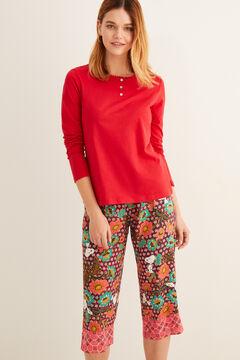 Womensecret Long-sleeved Henley t-shirt burgundy