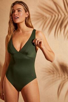 Womensecret Bañador moldeador escote en V verde verde
