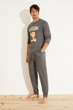 Womensecret Pijama largo Garfield algodón gris