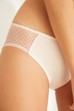 Womensecret Pink full Brazilian panty in cotton with plumetis pink