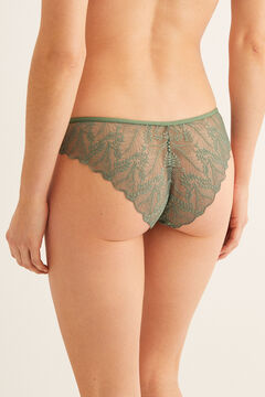 Womensecret Classic floral lace panty green