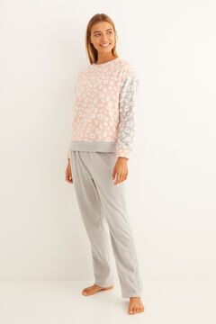 Womensecret Pijama comprido animal print bicolor branco