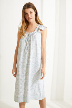 Womensecret Blue 100% sustainable cotton midi nightgown blue