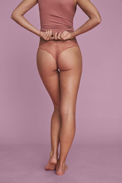 Womensecret Orange cotton and lace classic panty brown