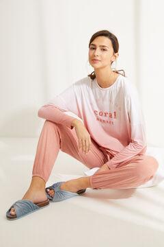 Womensecret Long pink super soft jersey-knit long-sleeved pyjamas pink