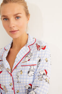 Womensecret Classic cotton striped Snoopy pyjamas blue