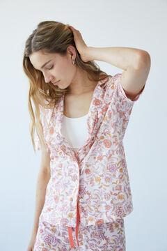 Womensecret Long floral cotton pyjamas pink