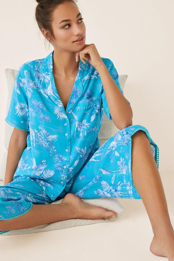 04801fd32 Womensecret Pijama capri camisero tropical estampado